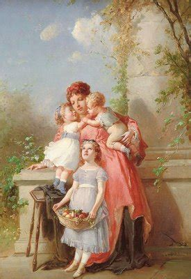 Free Graphic - Beautiful Painting of Mother and Children